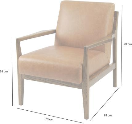 Albury Tan Leather And Wood Occasional Chair image 3