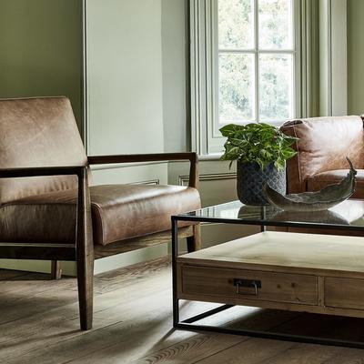 Albury Tan Leather And Wood Occasional Chair image 4
