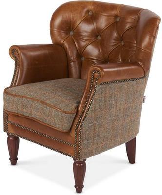 Brown Leather and Harris Tweed Marlon Low Club Chair