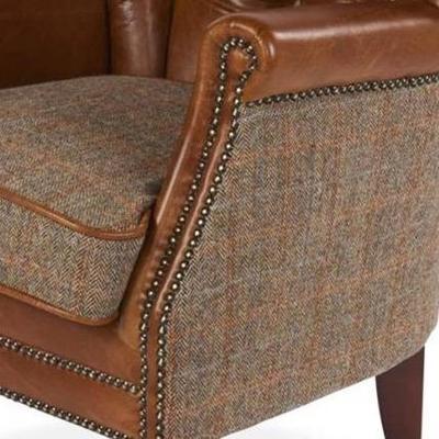Brown Leather and Harris Tweed Marlon Low Club Chair image 2