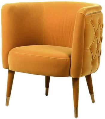 Curve Buttoned Chair Mustard Velvet