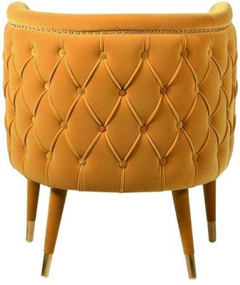 Curve Buttoned Chair Mustard Velvet image 2