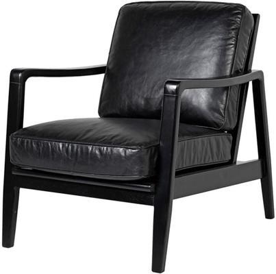 Vintage Black Leather Buckle Armchair