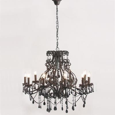 Ornate Large Black Glass Chandelier 10 Arm