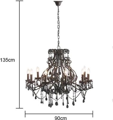 Ornate Large Black Glass Chandelier 10 Arm image 2