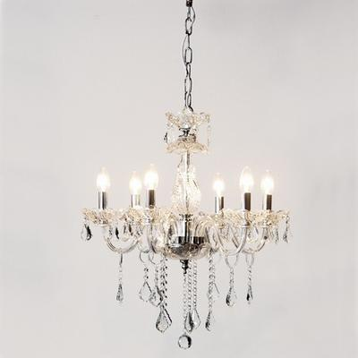 Ornate Clear Glass Chandelier French Design with Droplets
