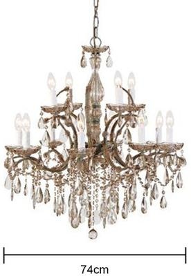 Two Tier Smoked Glass Chandelier French Design with Droplets image 2