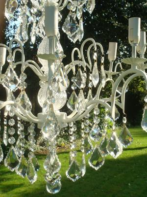 Large White Distressed Crystal Chandelier 8 Arms