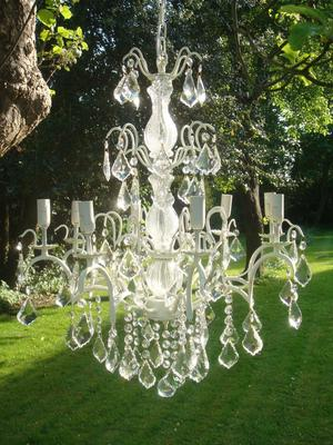 Large White Distressed Crystal Chandelier 8 Arms image 3