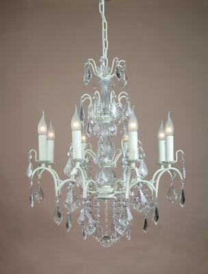 Large White Distressed Crystal Chandelier 8 Arms image 4