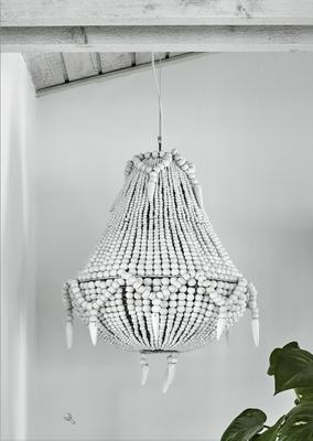 Beaded Wooden Chandelier image 7