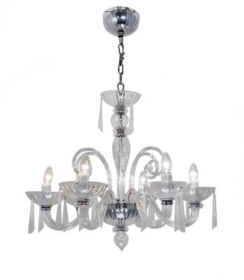 Six Arm Glass Chandelier