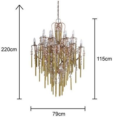 Large Tassled Chandelier French Style Iron and Glass image 2