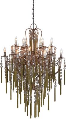 Large Tassled Chandelier French Style Iron and Glass image 3