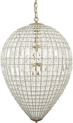 Eriska Pear Drop Crystal Effect Brass Chandlier Large