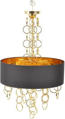 Megan Gold Links Circle Pendant Light with Hanging Chains