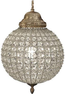 Round Antique Brass Chandelier Crystal Effect - Small