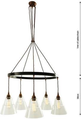 Lyx Five-Arm One-tier Vintage Chandelier Brass image 5