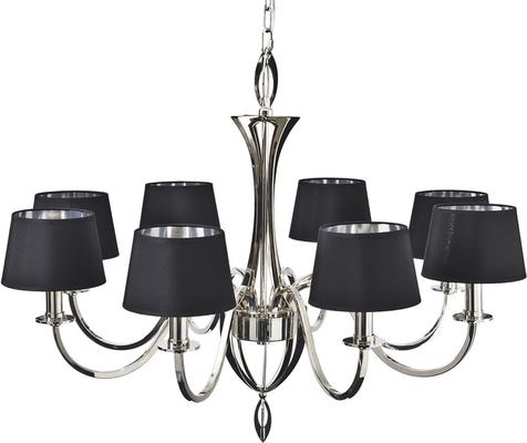 Aperfield Polished Nickel Chandelier with 8 Black Shades