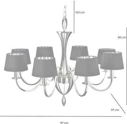Aperfield Polished Nickel Chandelier with 8 Black Shades image 3