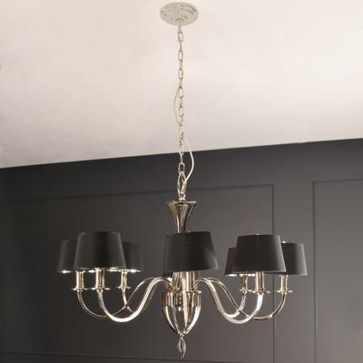 Aperfield Polished Nickel Chandelier with 8 Black Shades image 4