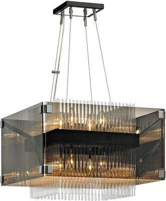 Fortune Grey Smoked Glass Box Chandelier