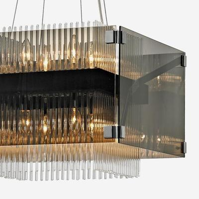 Fortune Grey Smoked Glass Box Chandelier  image 4