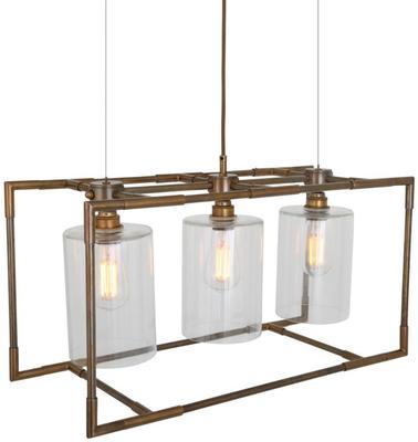 Blessington Three Light 3D Box Chandelier Brass or Silver