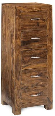 Cube Sheesham Chest of 5 Drawers Rustic Hardwood - Tall