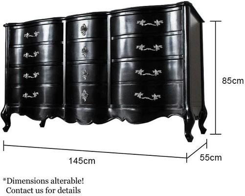 Large Black French Chest Of 3 Drawers image 2