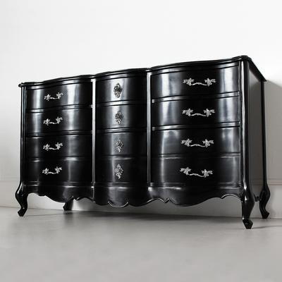 Large Black French Chest Of 3 Drawers image 4