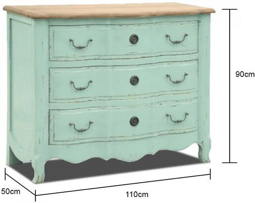 Turquoise Chest Of Drawers Three Drawer Vintage Design image 2