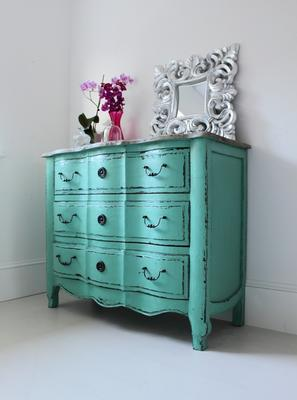 Turquoise Chest Of Drawers Three Drawer Vintage Design image 3