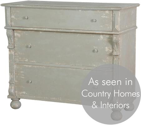 Distressed Vintage French Chest Of Drawers Sea Grey Finish