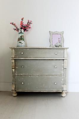 Distressed Vintage French Chest Of Drawers Sea Grey Finish image 3