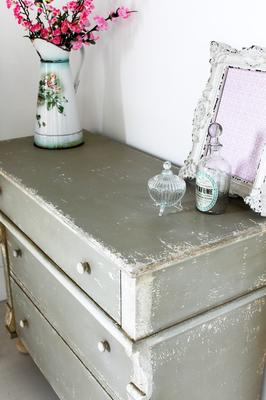 Distressed Vintage French Chest Of Drawers Sea Grey Finish image 4