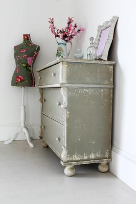 Distressed Vintage French Chest Of Drawers Sea Grey Finish image 5