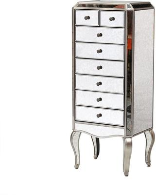 Venetian Mirrored Tallboy With Silver Trim Five Drawers