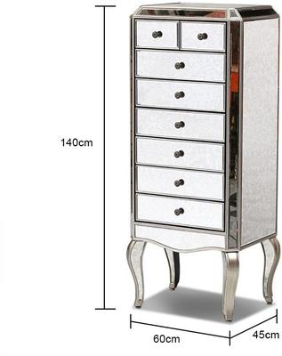 Venetian Mirrored Tallboy With Silver Trim Five Drawers image 2