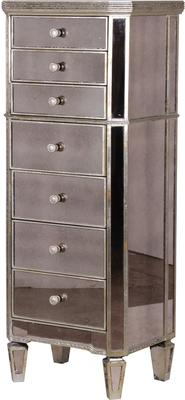 Slim Venetian Tallboy Chest Of Drawers Mirrored Finish