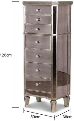 Slim Venetian Tallboy Chest Of Drawers Mirrored Finish image 4