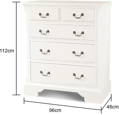 Classic White Chest 6 Drawers Traditional image 2