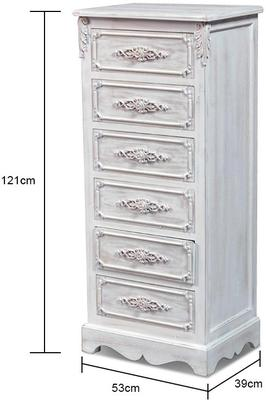 Distressed French Tall Boy Six Drawers image 2