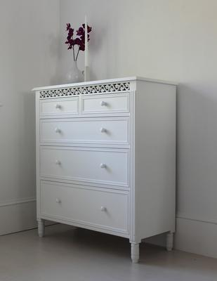 Large White Fretwork Chest of Fice Drawers