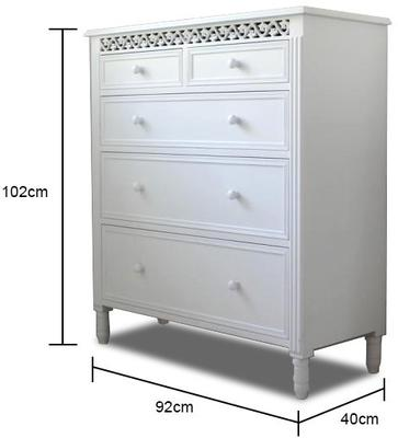 Large White Fretwork Chest of Fice Drawers image 2