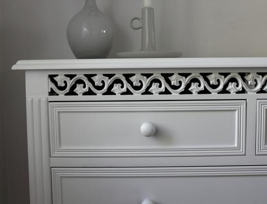 Large White Fretwork Chest of Fice Drawers image 3