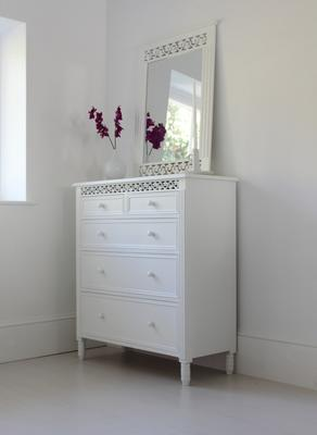 Large White Fretwork Chest of Fice Drawers image 4