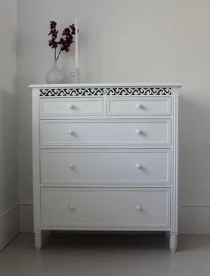 Large White Fretwork Chest of Fice Drawers image 5