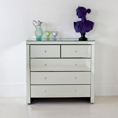 Large Mirrored Chest of Five Drawers image 5