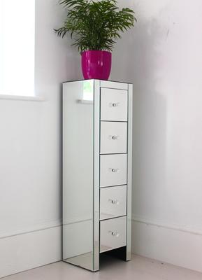 Ultra Thin Mirrored Tallboy Chest Five Drawers image 3